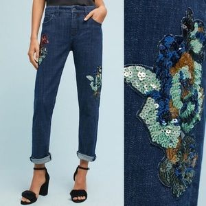 Pilcro & The Letterpress Sequinned Slim BF Jeans